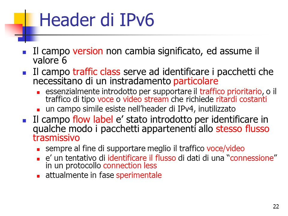 Header di IPv6 Il campo version non cambia significato, ed assume il valore 6.