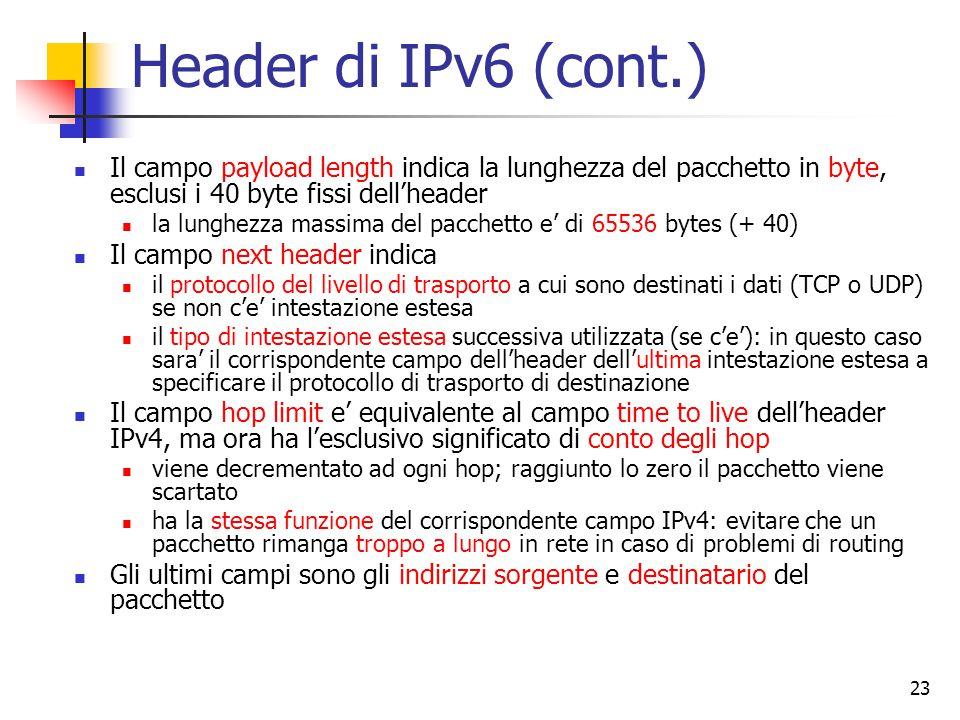 Header di IPv6 (cont.) Il campo payload length indica la lunghezza del pacchetto in byte, esclusi i 40 byte fissi dell'header.