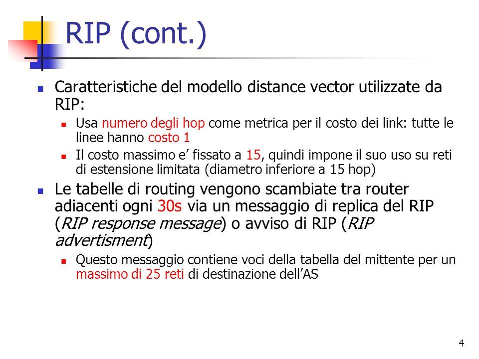 RIP (cont.) Caratteristiche del modello distance vector utilizzate da RIP: