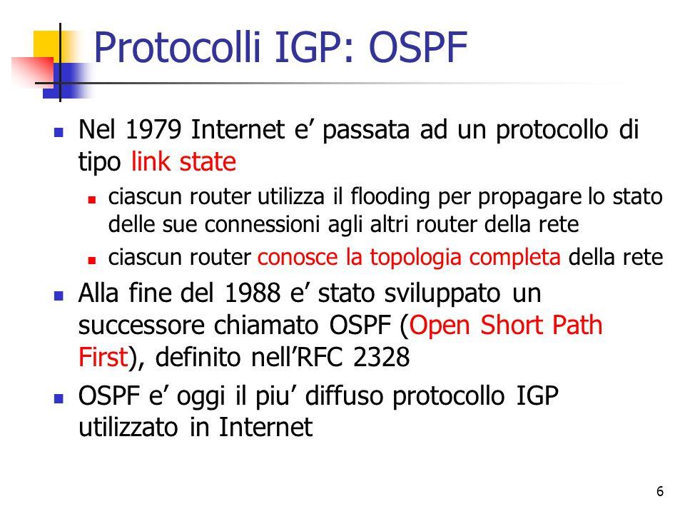 Protocolli IGP: OSPF Nel 1979 Internet e' passata ad un protocollo di tipo link state.