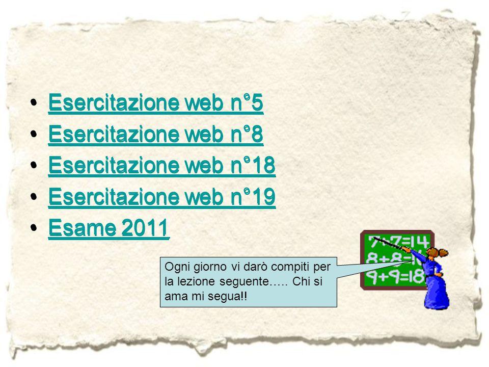 Esercitazione web n°5 Esercitazione web n°5 Esercitazione web n°8