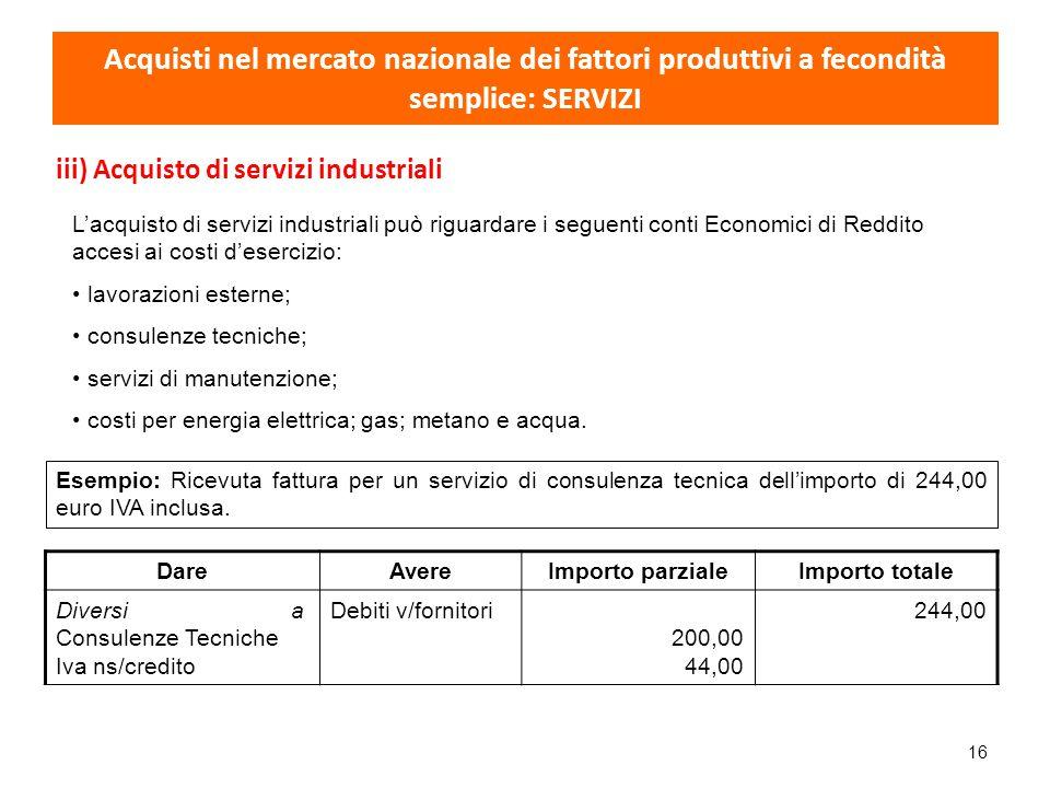 Acquisti nel mercato nazionale dei fattori produttivi a fecondità semplice: SERVIZI