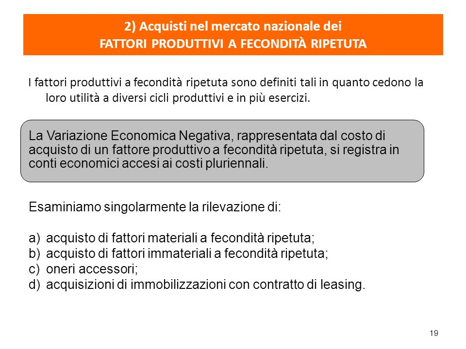 2) Acquisti nel mercato nazionale dei FATTORI PRODUTTIVI A FECONDITÀ RIPETUTA
