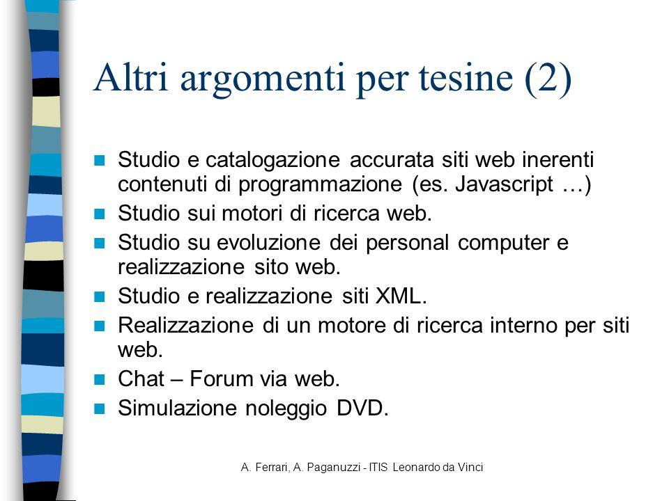 Altri argomenti per tesine (2)