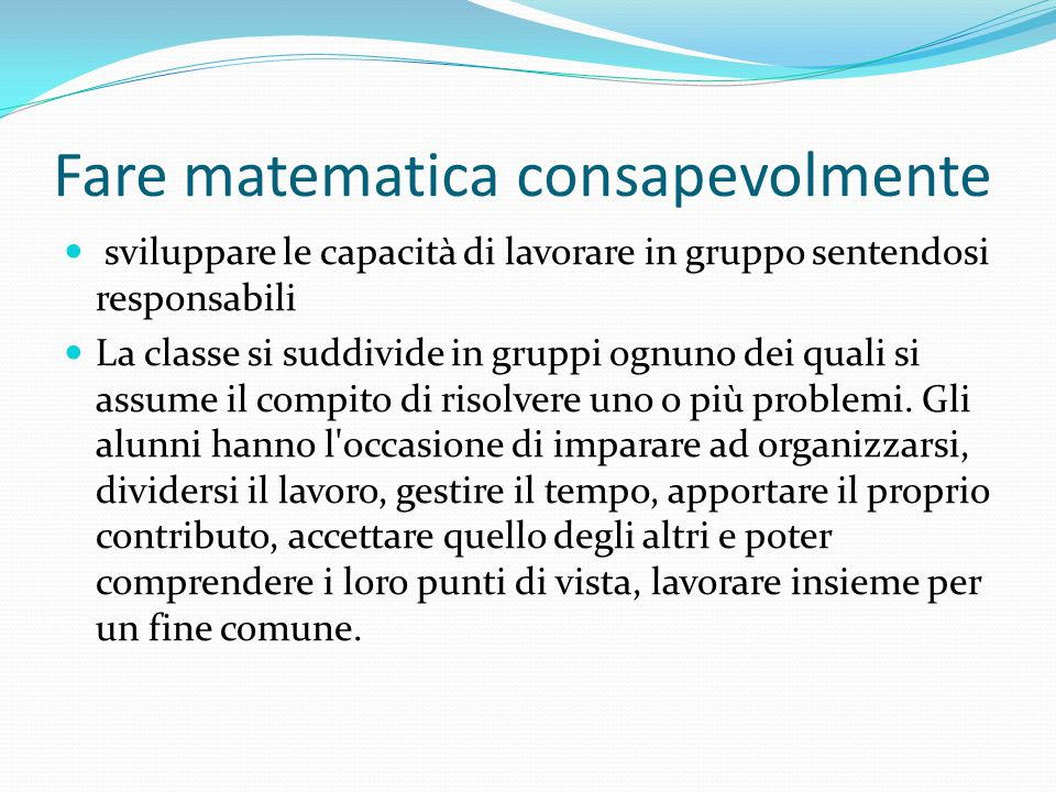 Fare matematica consapevolmente