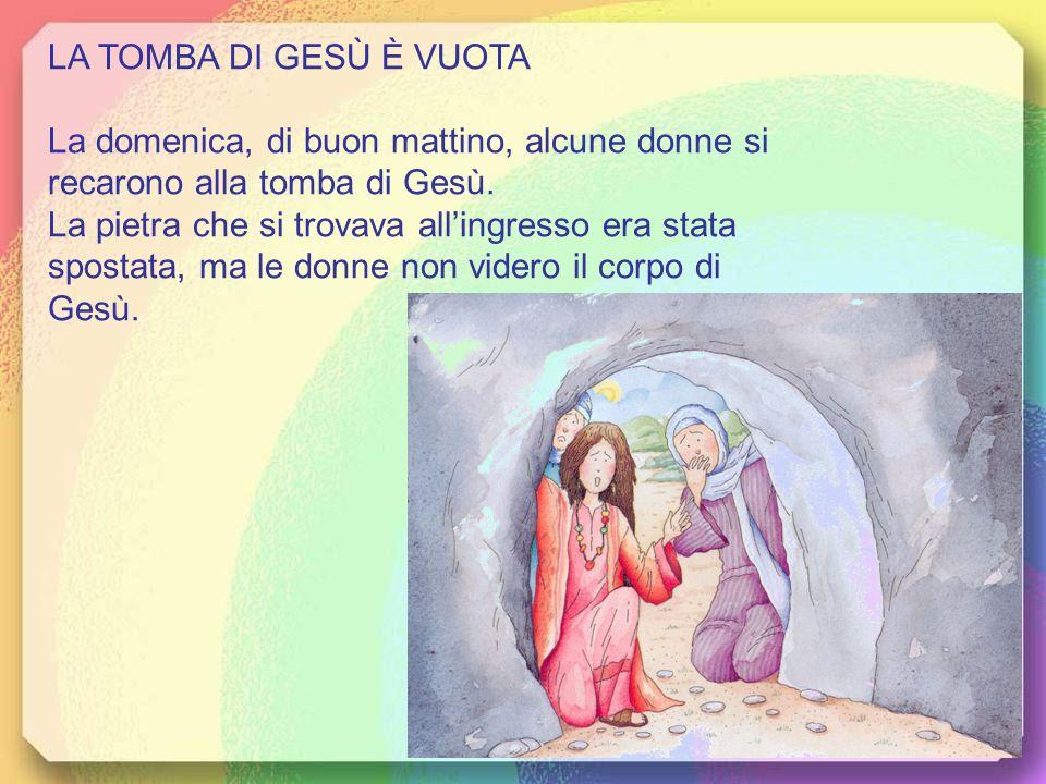 LA TOMBA DI GESÙ È VUOTA La domenica, di buon mattino, alcune donne si recarono alla tomba di Gesù.