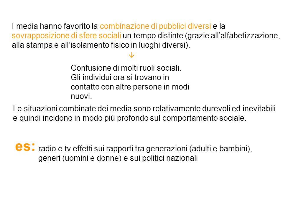 I media hanno favorito la combinazione di pubblici diversi e la sovrapposizione di sfere sociali un tempo distinte (grazie all'alfabetizzazione, alla stampa e all'isolamento fisico in luoghi diversi).
