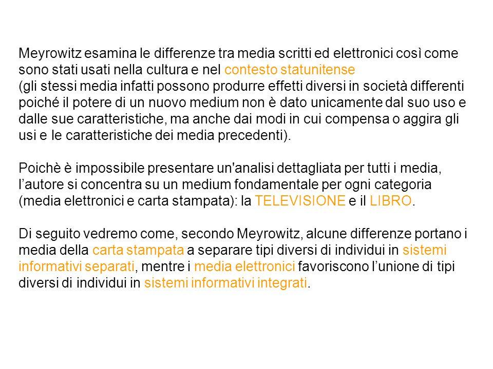 Meyrowitz esamina le differenze tra media scritti ed elettronici così come