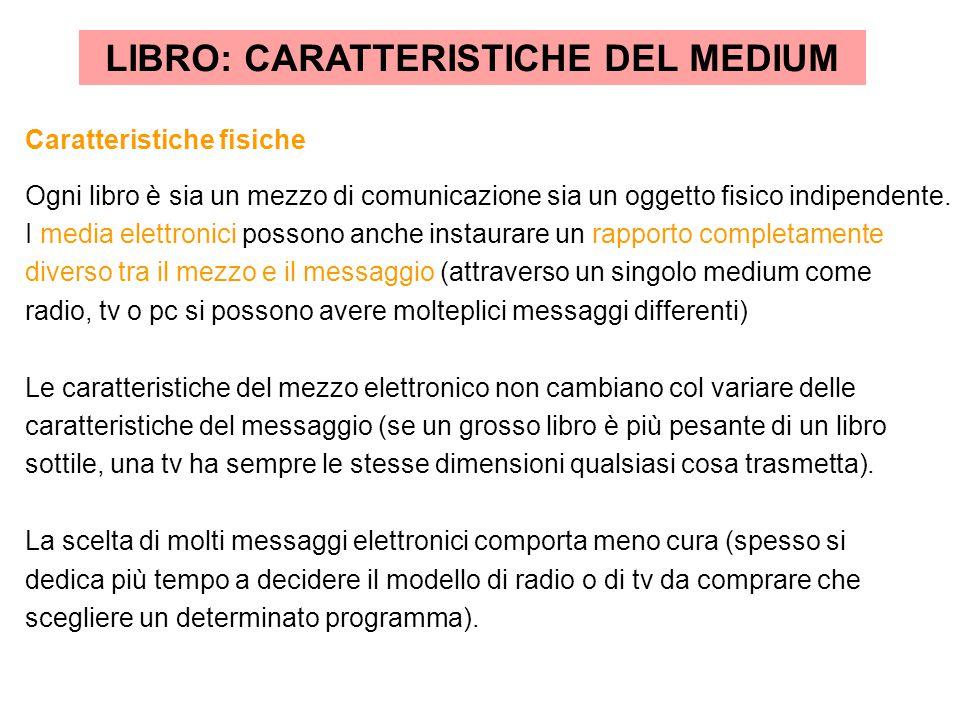 LIBRO: CARATTERISTICHE DEL MEDIUM