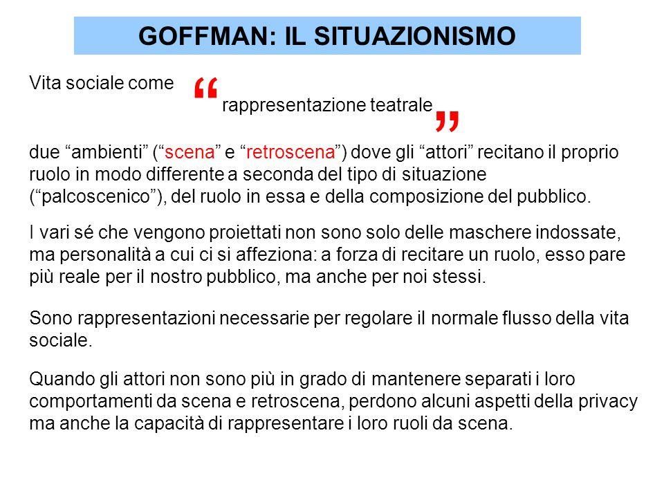 GOFFMAN: IL SITUAZIONISMO