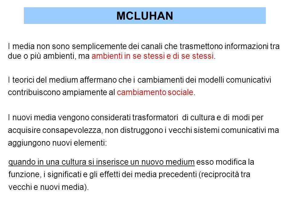 MCLUHAN I media non sono semplicemente dei canali che trasmettono informazioni tra. due o più ambienti, ma ambienti in se stessi e di se stessi.