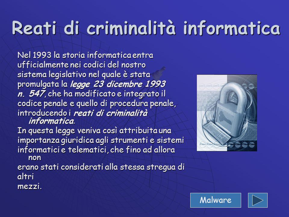 Reati di criminalità informatica