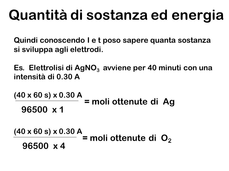 Quantità di sostanza ed energia