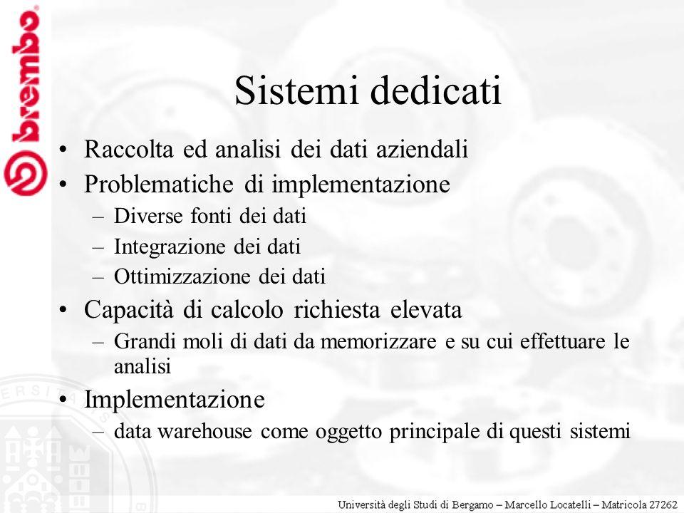 Sistemi dedicati Raccolta ed analisi dei dati aziendali