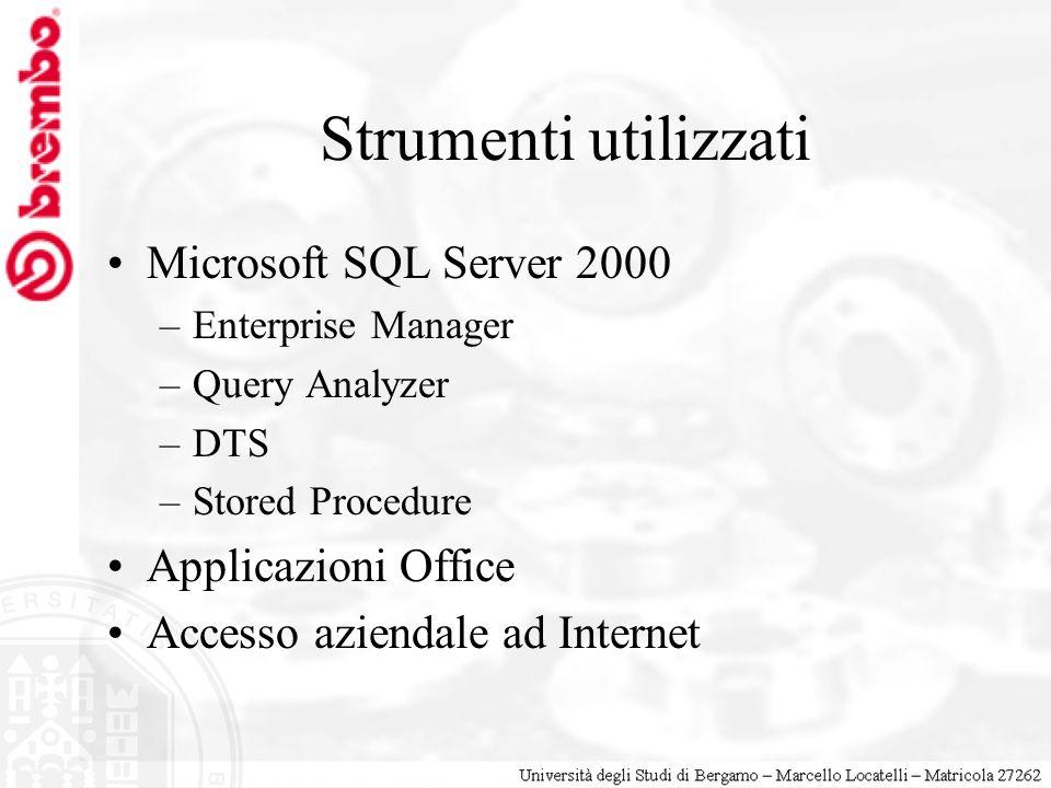 Strumenti utilizzati Microsoft SQL Server 2000 Applicazioni Office