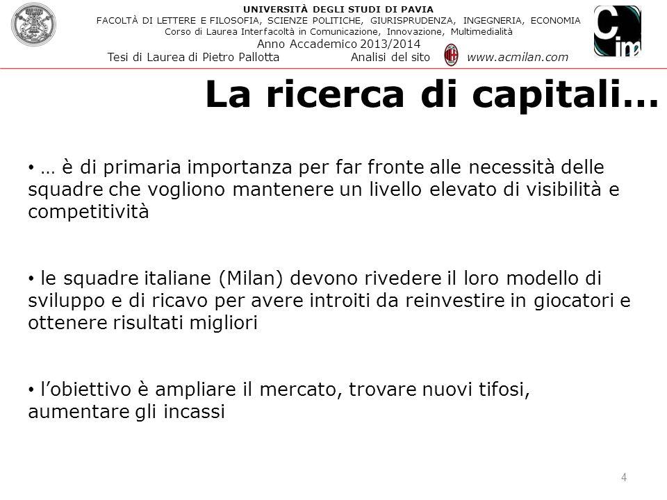 La ricerca di capitali…