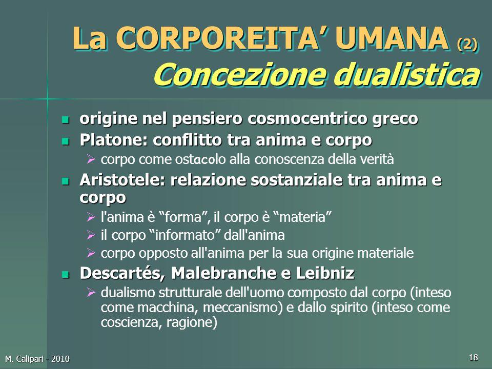 La CORPOREITA' UMANA (2) Concezione dualistica