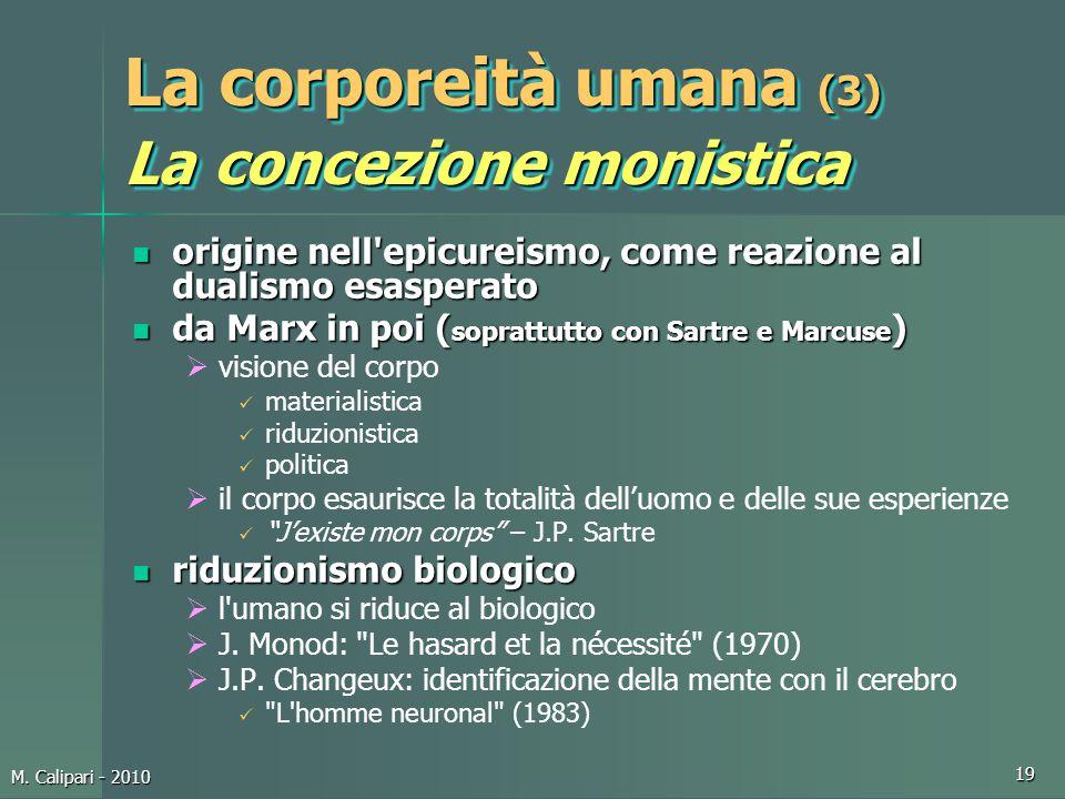 La corporeità umana (3) La concezione monistica
