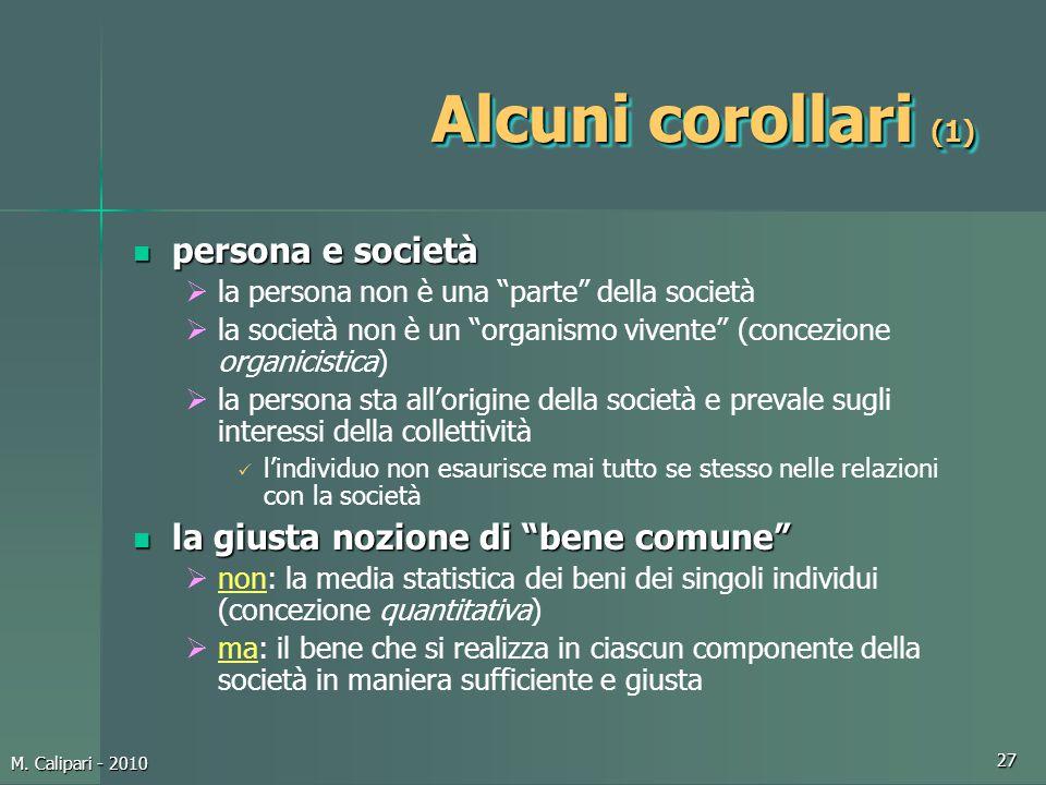 Alcuni corollari (1) persona e società