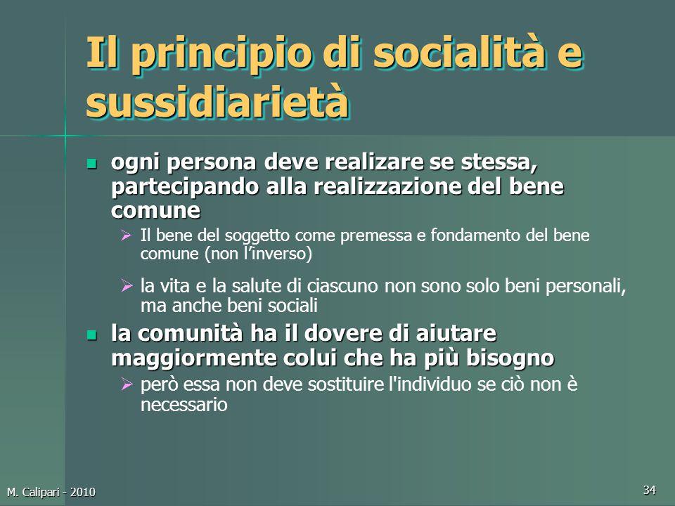 Il principio di socialità e sussidiarietà