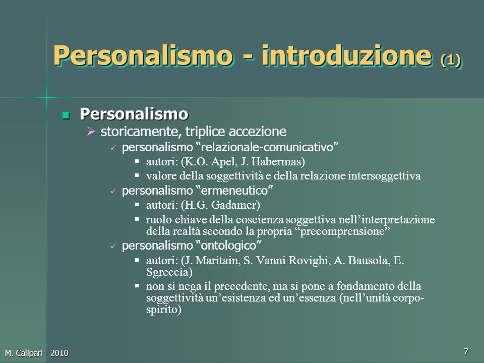 Personalismo - introduzione (1)