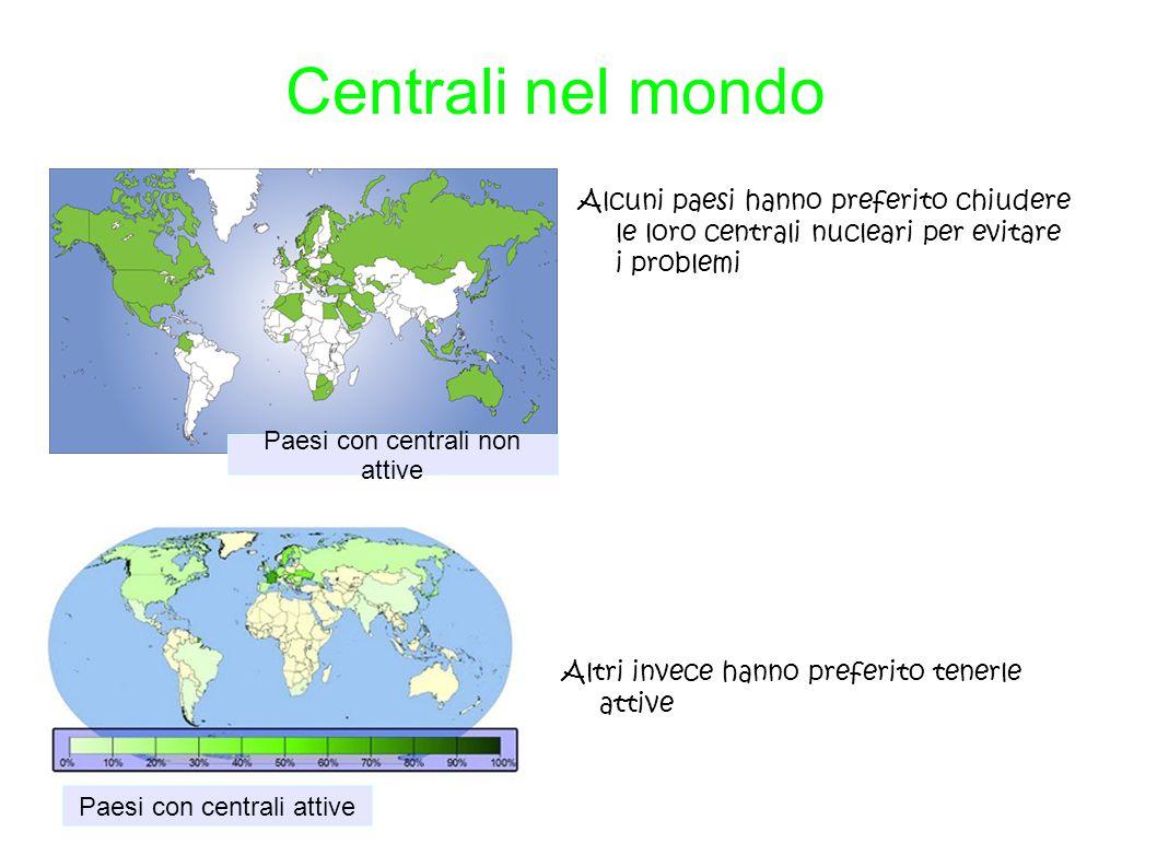 Centrali nel mondo Alcuni paesi hanno preferito chiudere le loro centrali nucleari per evitare i problemi.