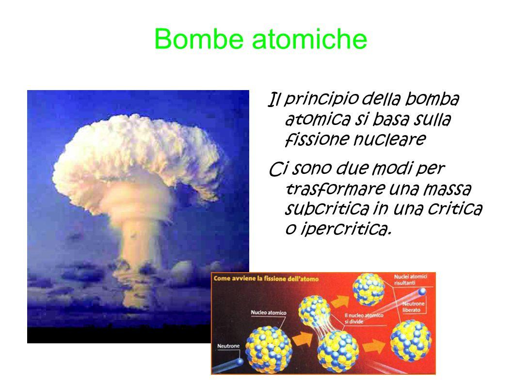 Bombe atomiche Il principio della bomba atomica si basa sulla fissione nucleare.