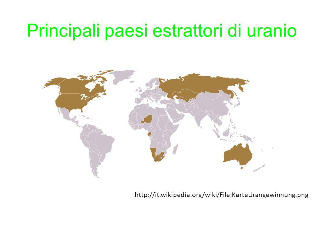 Principali paesi estrattori di uranio