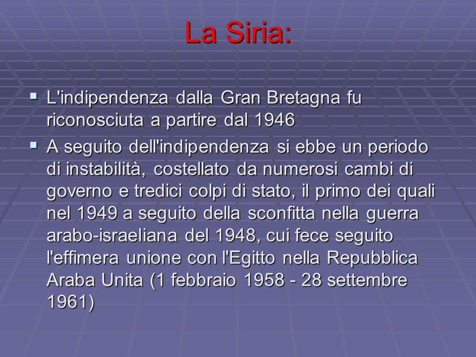 La Siria: L indipendenza dalla Gran Bretagna fu riconosciuta a partire dal 1946.