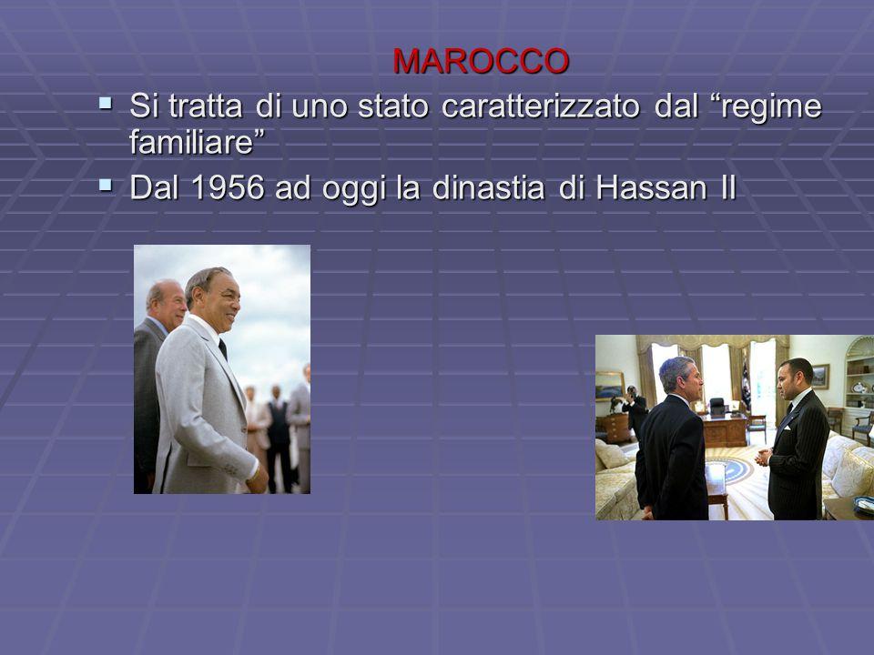 MAROCCO Si tratta di uno stato caratterizzato dal regime familiare Dal 1956 ad oggi la dinastia di Hassan II.