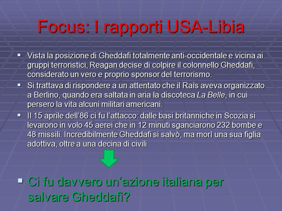 Focus: I rapporti USA-Libia