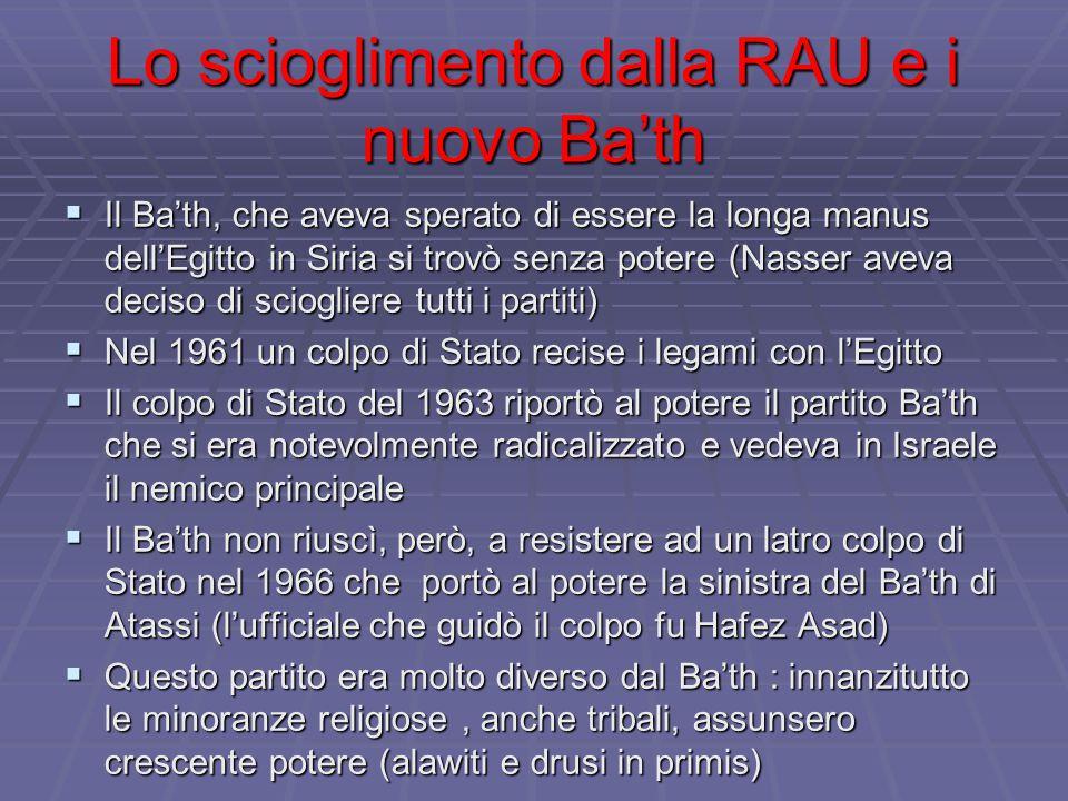 Lo scioglimento dalla RAU e i nuovo Ba'th