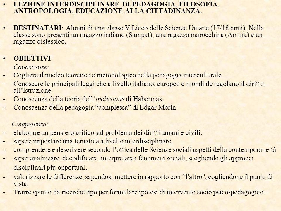 LEZIONE INTERDISCIPLINARE DI PEDAGOGIA, FILOSOFIA, ANTROPOLOGIA, EDUCAZIONE ALLA CITTADINANZA.