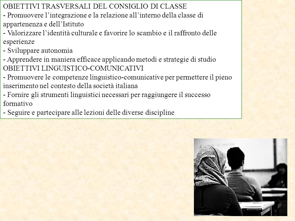 OBIETTIVI TRASVERSALI DEL CONSIGLIO DI CLASSE