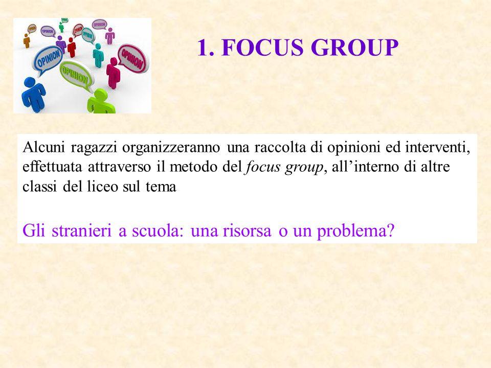 1. FOCUS GROUP Gli stranieri a scuola: una risorsa o un problema