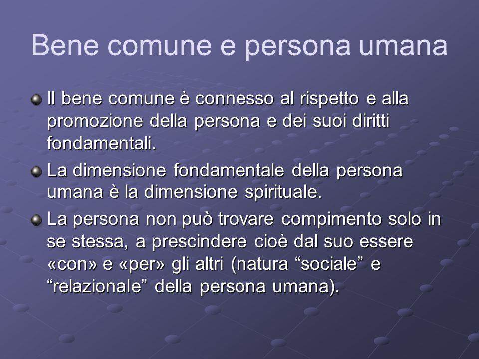 Bene comune e persona umana