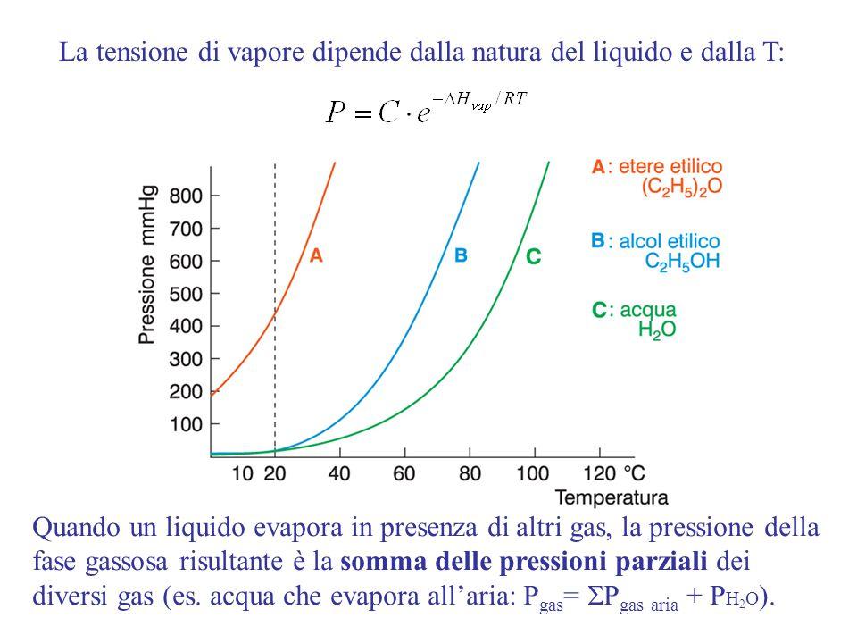 La tensione di vapore dipende dalla natura del liquido e dalla T: