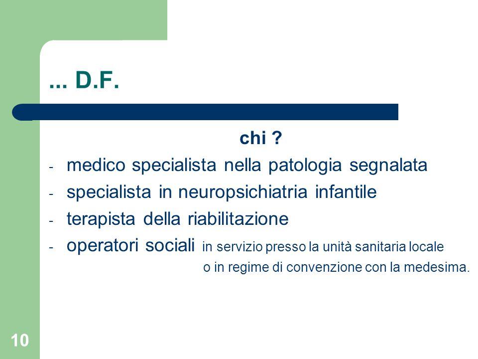 ... D.F. chi medico specialista nella patologia segnalata