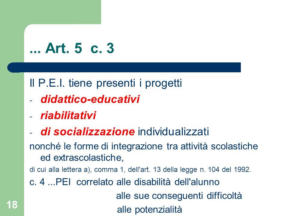 ... Art. 5 c. 3 Il P.E.I. tiene presenti i progetti
