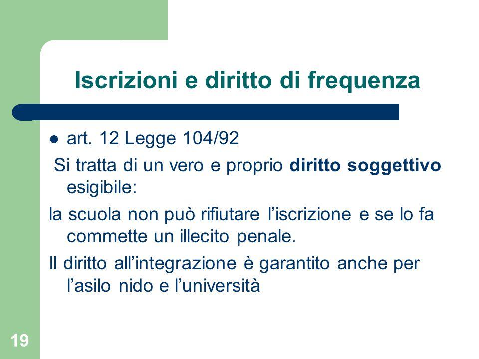 Iscrizioni e diritto di frequenza