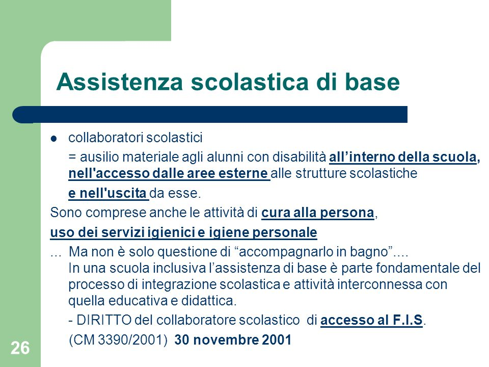 Assistenza scolastica di base