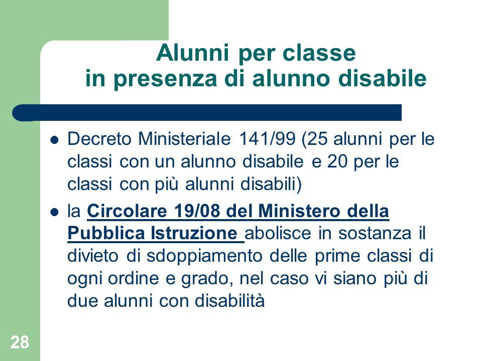 Alunni per classe in presenza di alunno disabile