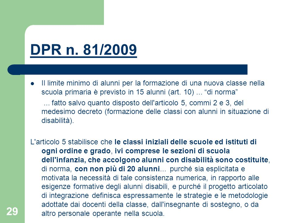 DPR n. 81/2009