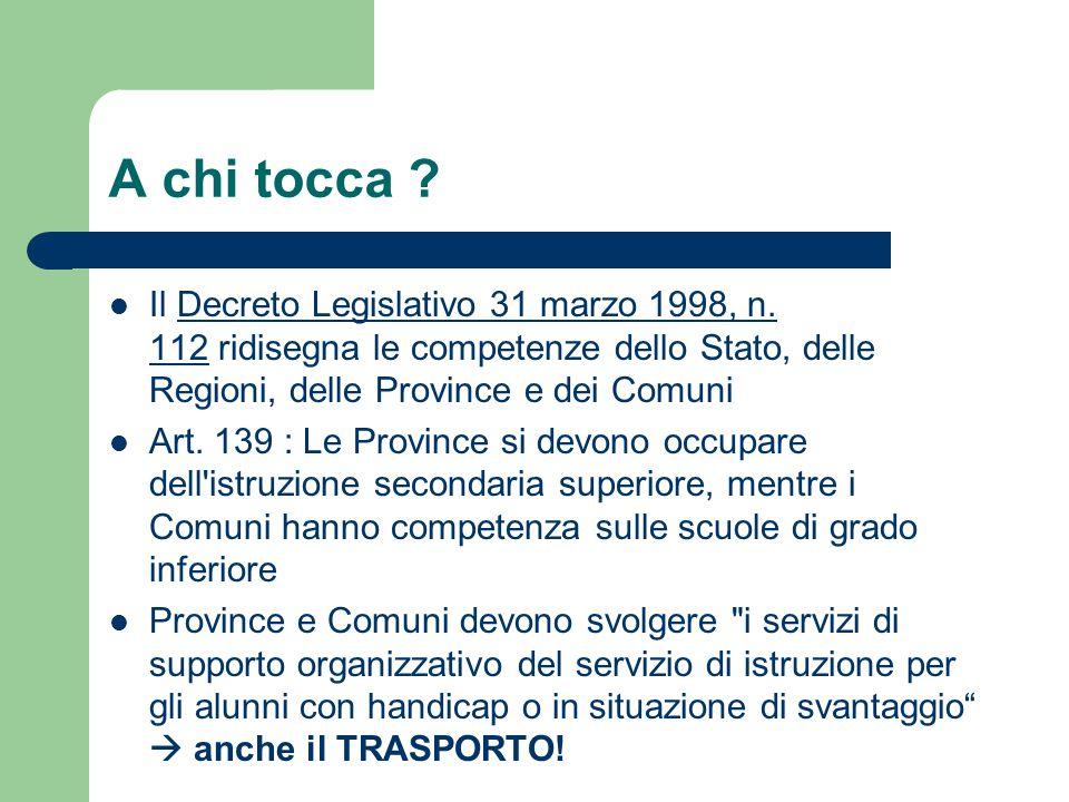 A chi tocca Il Decreto Legislativo 31 marzo 1998, n. 112 ridisegna le competenze dello Stato, delle Regioni, delle Province e dei Comuni.