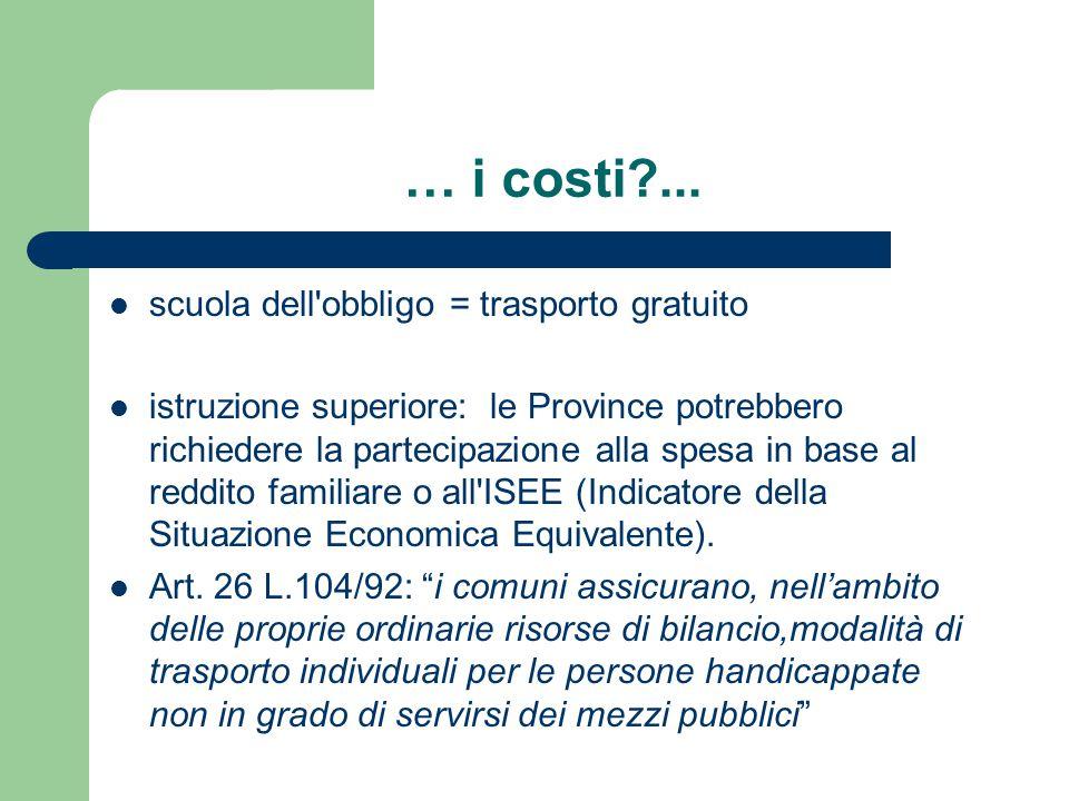 … i costi ... scuola dell obbligo = trasporto gratuito