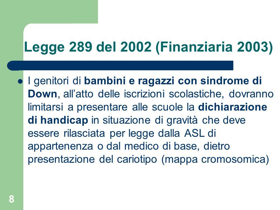 Legge 289 del 2002 (Finanziaria 2003)