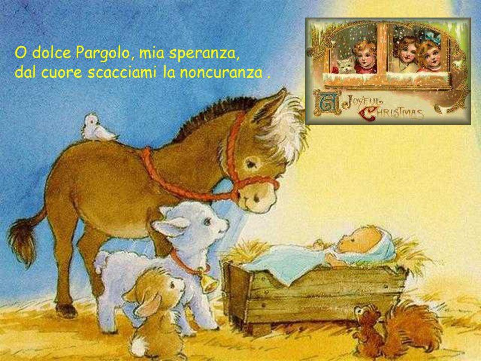 O dolce Pargolo, mia speranza, dal cuore scacciami la noncuranza .