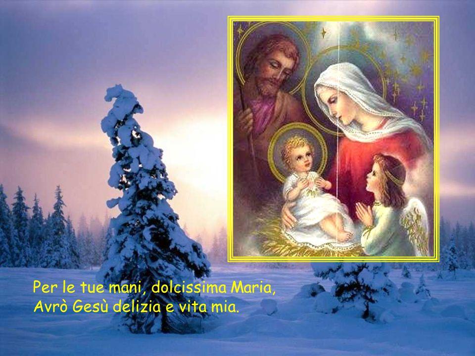 Per le tue mani, dolcissima Maria, Avrò Gesù delizia e vita mia.