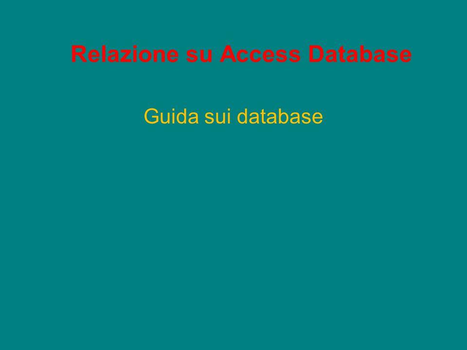 Relazione su Access Database