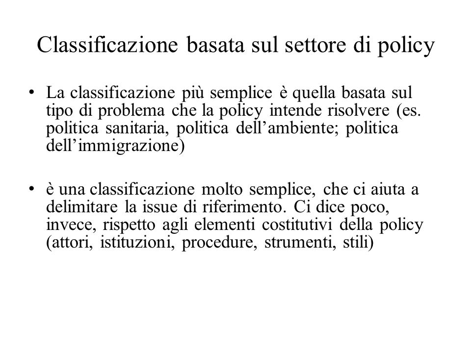 Classificazione basata sul settore di policy